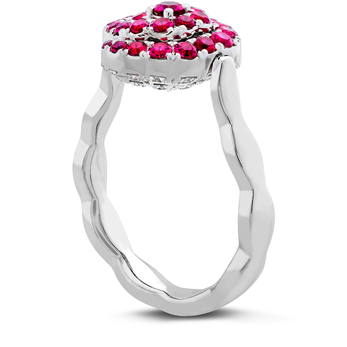 Lorelei Diamond and Ruby Floral Flip Ring